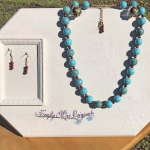 Turquoise Gemstones and Bronze Glass Pearls Necklace Set