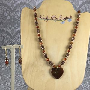Auburn And Mauve Necklace Set with Stone Heart Necklace Set