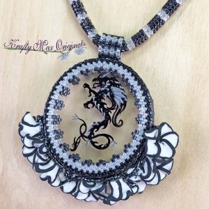 Black and White Dragon and Flowers Necklace