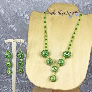 Green Crystal Beadwoven Necklace and Earrings Set