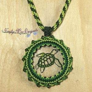 Beautiful Green Turtle Wearable Art Necklace with Center from Wildlife Plastics