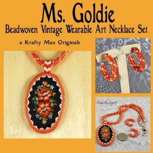 Ms Goldie Beadwoven Vintage Necklace and Earrings
