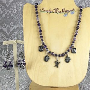 Purple Agate and a Collection of Buddhas Necklace Set