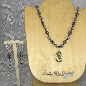 Silver and Gold Purple Angel Locket Necklace Set from Grandmothers Stash