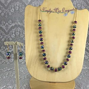 Vintage Teal Crystals and Pink Ceramic Necklace Set
