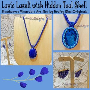 Lapis Lazuli with Hidden Teal Shell Beadwoven Wearable Art Set