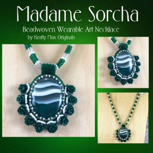 Madame Sorcha (Green and White) Beadwoven Wearable Art Necklace
