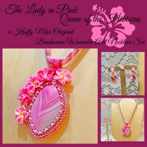 The Lady in Pink Queen of the Hibiscus Beadwoven Wearable Art Necklace Set 1