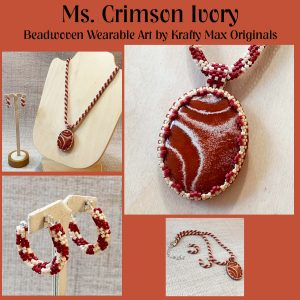 Ms Crimson Ivory Beadwoven Wearable Art Necklace