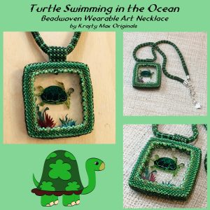 Green Turtle in the Ocean Beadwoven Wearable Art Necklace