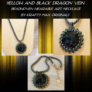 Yellow and Black Dragon Vein Beadwoven Wearable Art Necklace