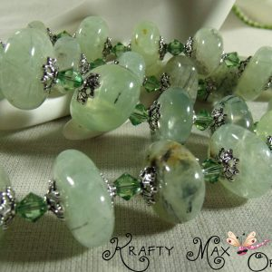 Natural Smooth Peridot Stones and Swarovski Crystal 3 Piece Set