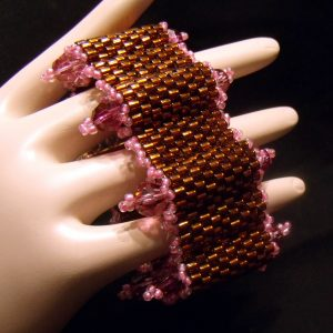 Pink and Brown Humps and Bumps Beadwoven Bracelet