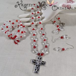 Red Delight 3 Piece Swarovski Crystal and Glass Necklace Set