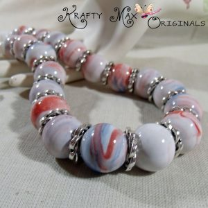 Red White and Blue Large Ceramic Beads – Mother of Pearl Necklace Set