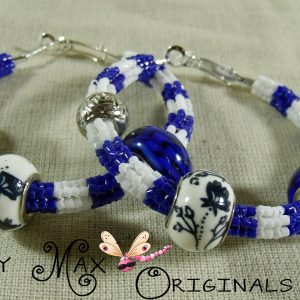 Blue and White Beadwoven Stainless Steel Hoops with Prima Beads