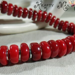 Red Coral and Silver Disc Necklace Set a Krafty Max Original Design