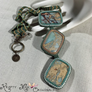 Teal and Cream BDWN Necklace 4