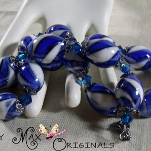 Blue and White Ceramic and Swarovski Crystals Necklace Set