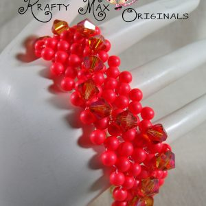Neon, Bright and Proud Swarovski Crystal and Pearl Beadwoven Bracelet