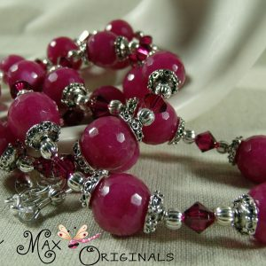 Pink Swarovski Crystals and Pink (Berry) Agate Necklace Set