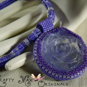 Blueberry Quartz Rose Beadwoven Necklace