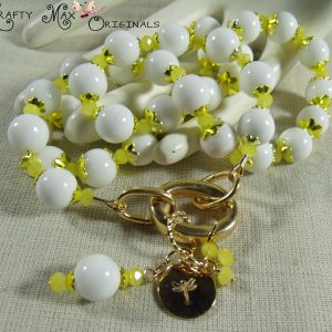 Yellow and White Necklace Set for Creations Color Challenge