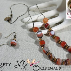 8th Bead Soup Blog Party – Glowing Red Agate Neclace and Earrings