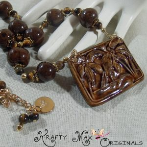 Brown Ceramic Beads and Palm Tree w/Brown Tigereye Necklace Set