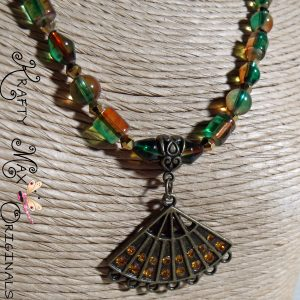 Prima Blog Team Green and Orange Fan Necklace Set
