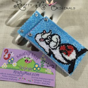 Mr. Skunk Off Loom Beadwoven Busines Card Holder a Krafty Max Original