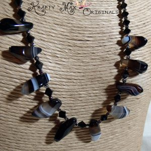 Black Banded Agate and Swarovski Crystals Necklace Set