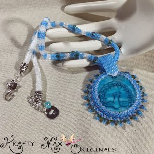 Beautiful Blue Beadwoven Peacock Shell Necklace with Swarovski Crystal