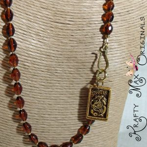 Brown Ceramic Dragon and Glass Beads Necklace Set