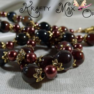DEEP Mahogany Gemstone and Burgundy Glass Pearls