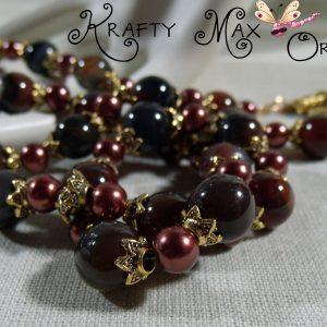 DEEP Mahogany Gemstone and Burgundy Glass Pearls