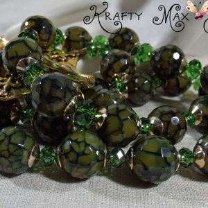 Moss Green Crackle Faceted Agate and Gold Plated Crystal Necklace Set