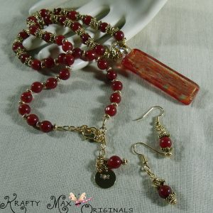 Carnelian and Gold Simple Necklace Set