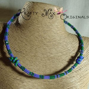 Beadwoven Necklace with Handmade Snake Beads from Maybeads