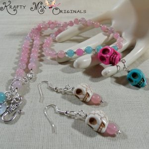 Skulls w/Soft Pink Quartz and Pink + Teal Malaysian Jade Necklace Set