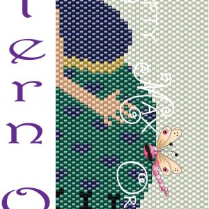 Pregnant Lady with Cat Colored Beadwoven Bracelet PATTERN ONLY