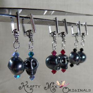 3 Skull Set, Changeable, Swarovski Crystal, Silver Plated Earrings