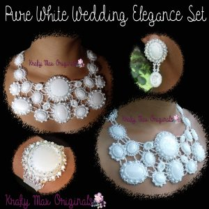 Pure White Mountain Jade Beadwoven Elegance – Handmade 3 Piece Wedding Set