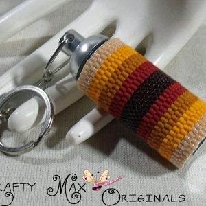 Fall or Autumn Beadwoven Medical Stainless Steel Key Chain Pill Fob