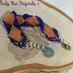 Orange and Blue Gator Pride Diamond Handmade Bracelet