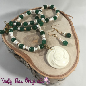 green and white necklace set 6