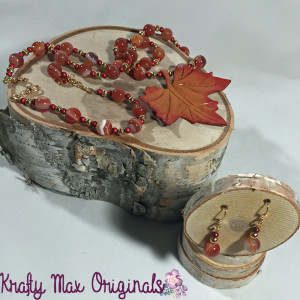 leather leaf and fall colors necklace set 2