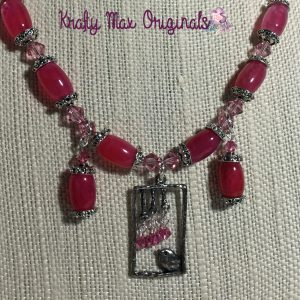 A Little Birdy with Pink Watermellon Quartz and Swarovski Crystals Necklace Set