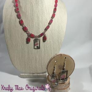 pink quartz and bird necklace set 2