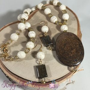 Bronzite and Magnesite Mixed with Swarovski Crystals Necklace Set